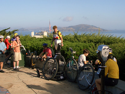 The group at Coit Tower, with Alcatraz in the background