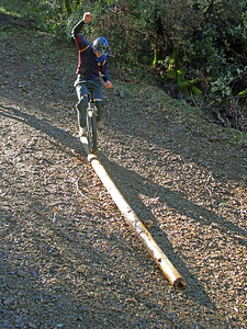 Bevan on a slippery little log