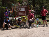 Start of the trail with unicycles and riders: Geoff, Bronson, Megumi, Nathan, John, Beau and Rob