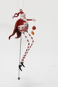 Crazy Santa with tiny-wheeled unicycle