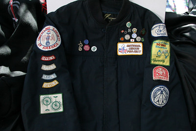My (very) old patch-and-pin jacket, circa 1981! Back then, the USA Skill Levels only went to 4. Other patches: 1985 National Unicycle Meet, National Circus Project, March of Dimes Superide, Hong Kong Cycling Association, International Jugglers Association.