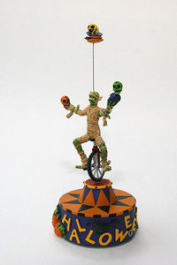 Halloween unicycling mummy, rotating music box from Hallmark