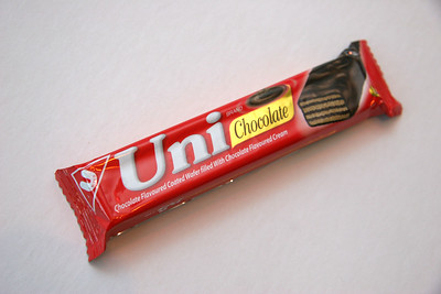 Uni Bar, a very lightweight, airy, chocolate-coated stack of wafers