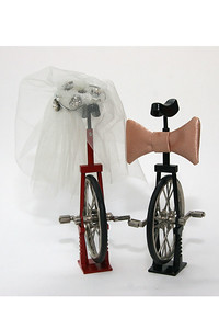 His and hers unicycles, decorated for their appearance on our wedding cake on July 1, 2000