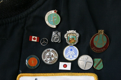 Some of the pins: Soviet Circus (1990), Canada, Worms, Germany, Juaniba Circus Club, Latvia, Iggelheim cycling club, Germany, Unicycling Society of America, IJA, R.V. Oberaussem, Germany, Japan