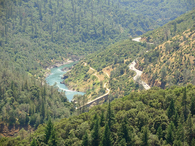 American River Confluence and roads as seen from the Foresthill Bridge