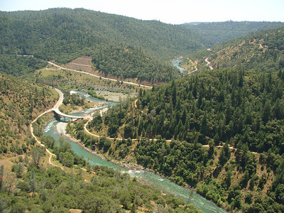 American River Confluence and trails as seen from the Foresthill Bridge
