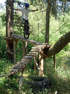 Corbin Dunn tries out Jess Riegel's backyard Trials course