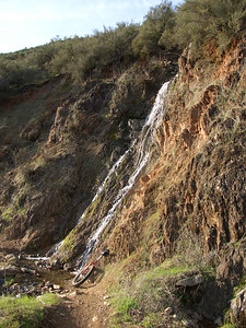Seasonal waterfall along the Confluence Trail
