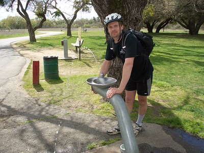 Aaron Needles from Davis, CA, my faithful companion for most of my Saturday ride. He joined me for the entire bike path, plus about 4 miles of backtrack, for a total of about 36 miles, by far his longest unicycle ride ever! Here he's showing how anxious this fountain is to spread the love.