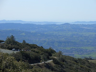 In the far distance is San Francisco and the Golden Gate Bridge. Much closer is the main parking lot and road. My next challenge would be to start cranking down 11 miles of road and about 3300' of downhill on my brand new Coker V2 and see how the brakes worked out...