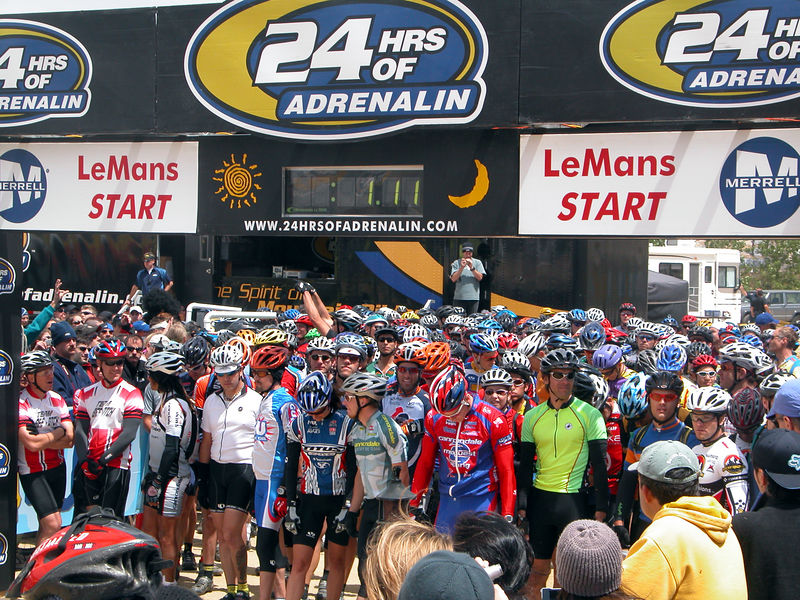 The starting line 71 seconds before the race begins