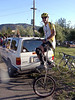 Scot Cooper at the start - he's the first to cycle all the way up Mt Diablo on a giraffe unicycle. And he did it in the race with no dismounts!