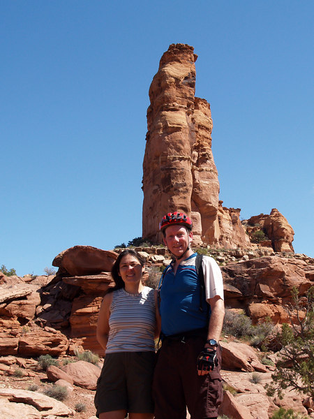 Grace and John along the trail. Grace hiked over 25 miles - every foot of each ride.