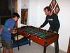Beau and Kris dueling in one of many foosball games at the cabin