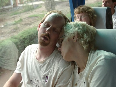 Nathan Hoover took this shot of Jacquie and me zonked out on the bus ride back from the Great Wall.