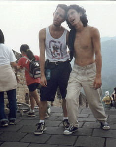 """I didn't take this one and not sure who did, but it's a classic. Our day at the Great Wall was the morning after the big Final Party with the free beer. This is Javier Ruiz and Julien Monney, showing us what hung-over + heat + humidity looks like. Julien was a finalist in the previous night's """"Beer Workshop"""" where you had to do your best trick, drink a beer, and repeat until you missed it. His choice of Stand-Up Coasting made life difficult for him, and he ended up falling and hurting his chin bad enough to require a trip to the hospital!"""