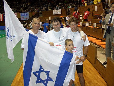 Team Israel, the first actual group of unicyclists to travel from Israel to a Unicon. Jack Halpern has always represented his home country, but he lives in Japan.
