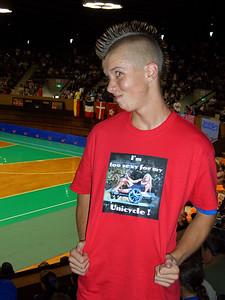 Zack sports crazy hair, a crazy shirt, and a crazy expression!