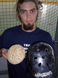 This is Jack Hughes. This is his brain. This is his helmet. I don't know where this is going. That thing was breakfast.
