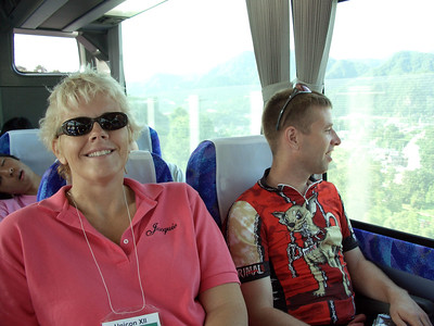 Jacquie and Andy Cotter on the bus to Fujimi Panorama Resort.