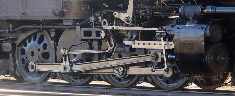 Close up of U.P. 4014 drivers. Wheel arrangement is  4-8-8-4.