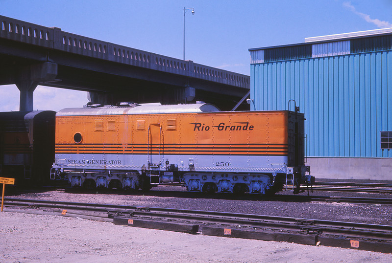 D&RG 1770 - July 10 1966 - steam generator car 250 @ Burnham COLO