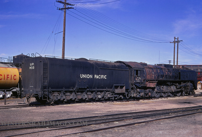 UP 390 - Mar 10 1967 - no 833 4-8-4 @ Cheyenne WY - by Jim Ozment