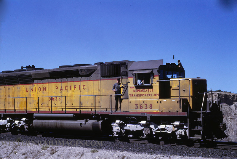 UP 425 - Apr 29 1969 - no 3638 westbound on Kaiser Unit Train near Hleper Utah - by Jim Ozment