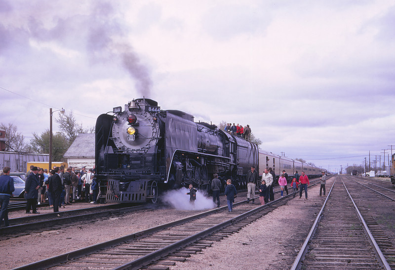 UPRR 403 - Apr 23 1967 - 4 8 4 no  8444 taking water @ Sterling COLO