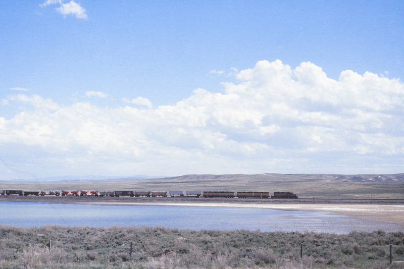 UPRR - May 22 1979 - train west of Medicine Bow WYO