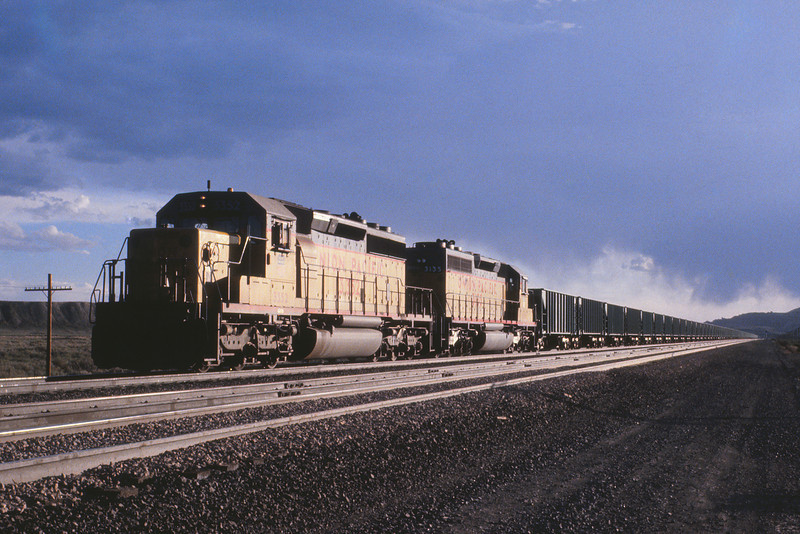 UPRR - May 23 1979 - train at Medicine Bow WYO