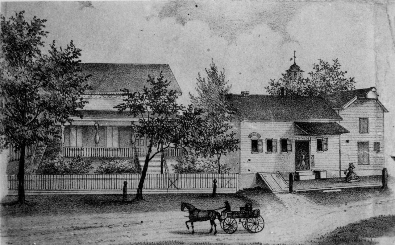 This engraving is from an 1860's farm map. James Wade owned the property at that time. On the right is what would become Westlake's Store. On the left is a house that still stands at 875 W Chestnut St.