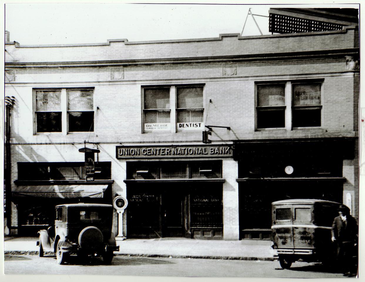 The original Union Center National Bank around 1923.