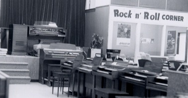 """Rondo Music previously located on Route 22 West near Vauxhall Rd. Photo of the inside of the store when it first opened in the 1957. Keeping up with the latest trends in music the store featured the """"Rock n' Roll Corner""""."""
