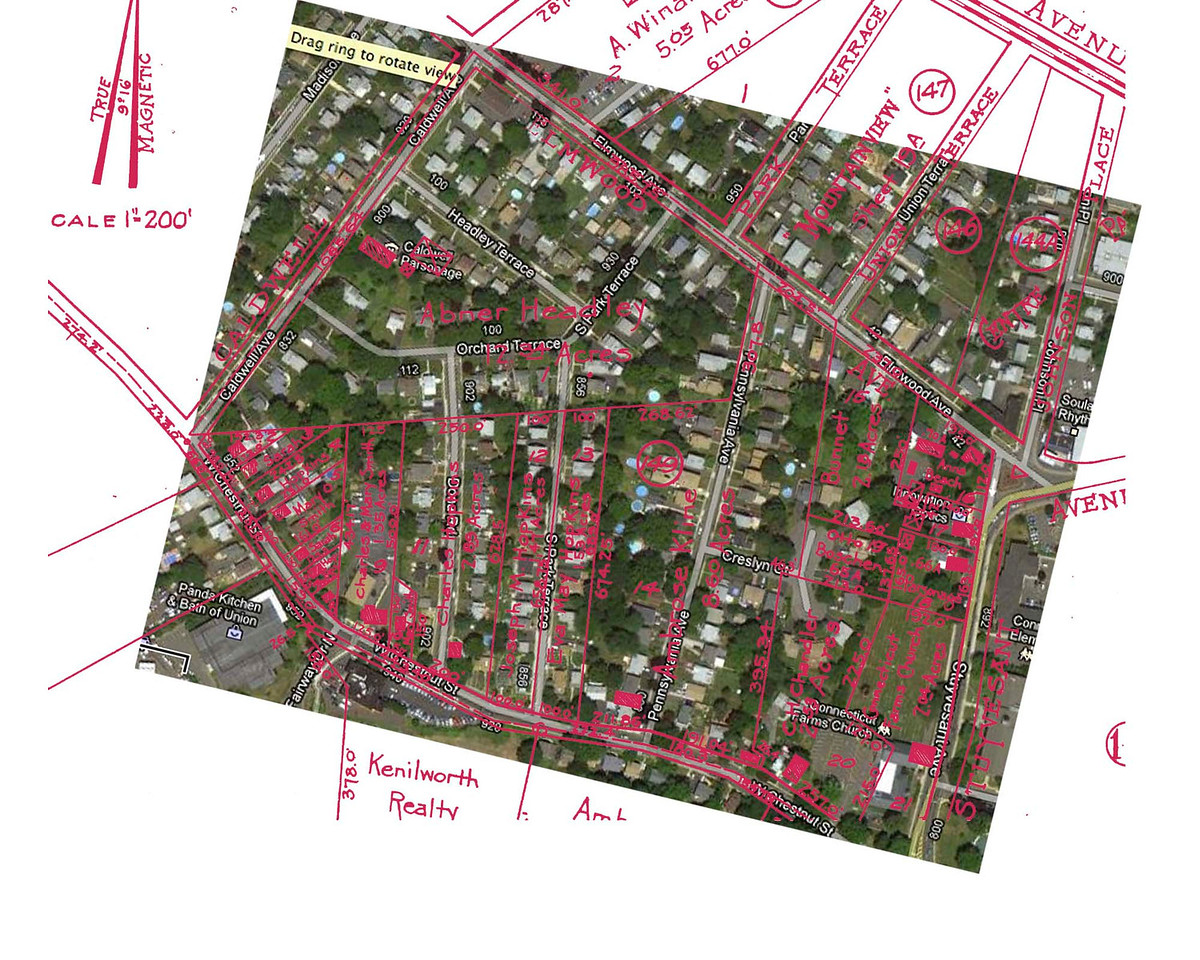 This satellite image with tax map overlay indicates the 1916 property lines with the modern layout.