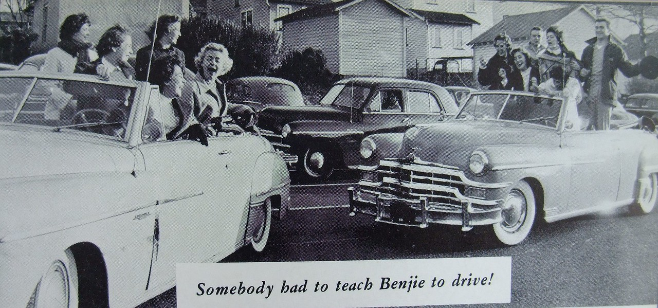 Class of 1956 students having fun on Stone St. well before seatbelts were required in motor vehicles.