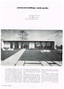 Great find of a 1956 Progressive Architecture Magazine article featuring Loft's Candy Garden that was located on the middle island of Route 22 where Wendy's is currently located. This was taken before the big sign was installed on the roof. Here is the history of Lofts: http://www.brandnamecooking.com/loftcandy.html  According to this website the design was created by Alvin Lustig. http://www.lustighouse.com/post/96368615071/andrewromano-while-digging-through-the-alvin