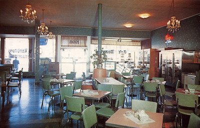 """Postcard for Cafe Mozart- current site of """"Mood"""" in Union Center."""
