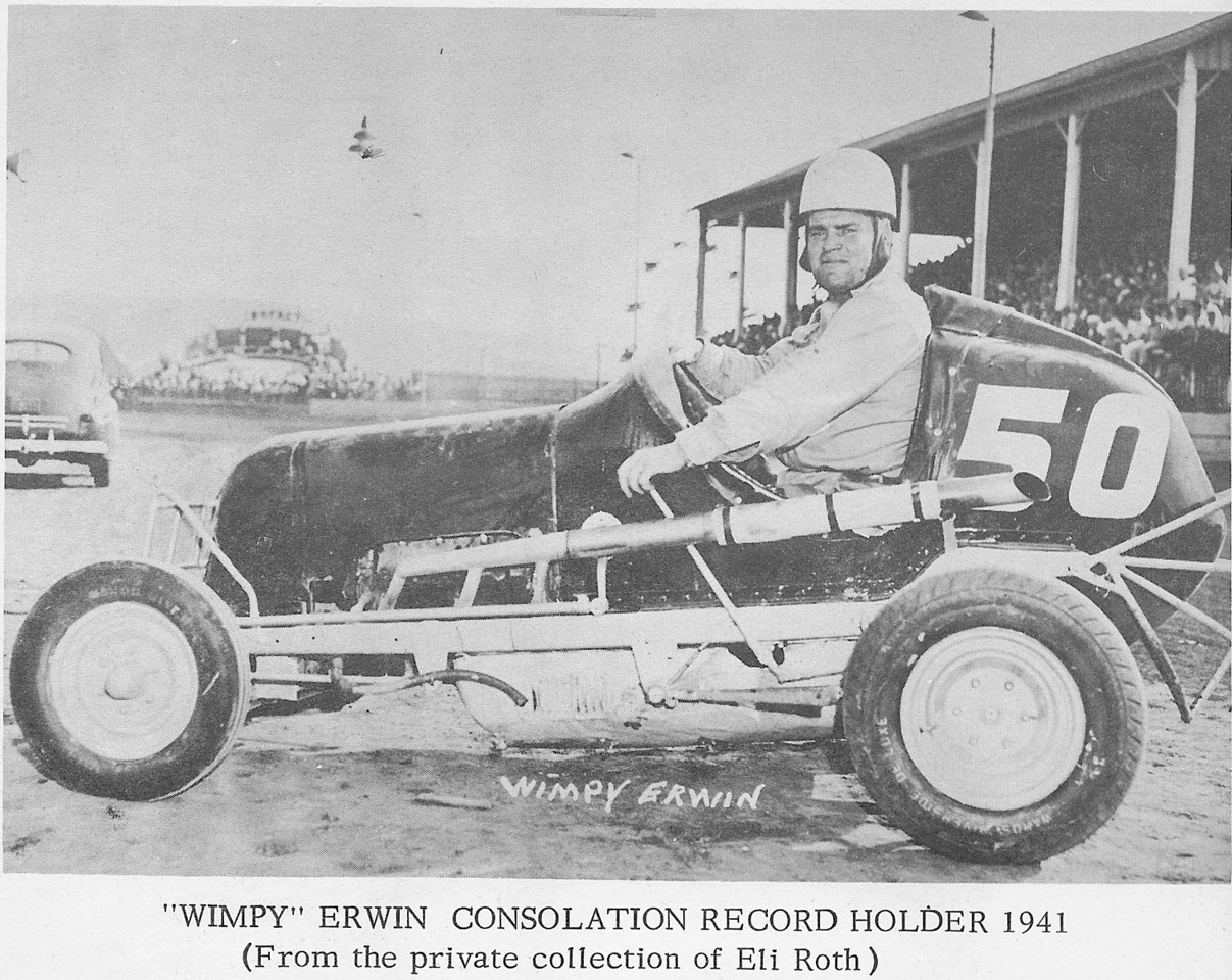 """A rare photo of Tri-City Stadium with Wimpy Erwin in his Midget Race car. Tri-City Stadium was a motorcycle and midget car race track that existed from 1933 to 1941 on Mill Road on the site where the Garden State Bowling alley was. The track was named Tri-City due to the fact that racers would drive through Union, Irvington and Hillside as they sped around the course. This claim is currently in dispute and we have our researchers looking into it. We will keep you posted. This photo is from a very rare book entitled """"The Midgets at Tri-City Stadium"""" by Crocky Wright."""