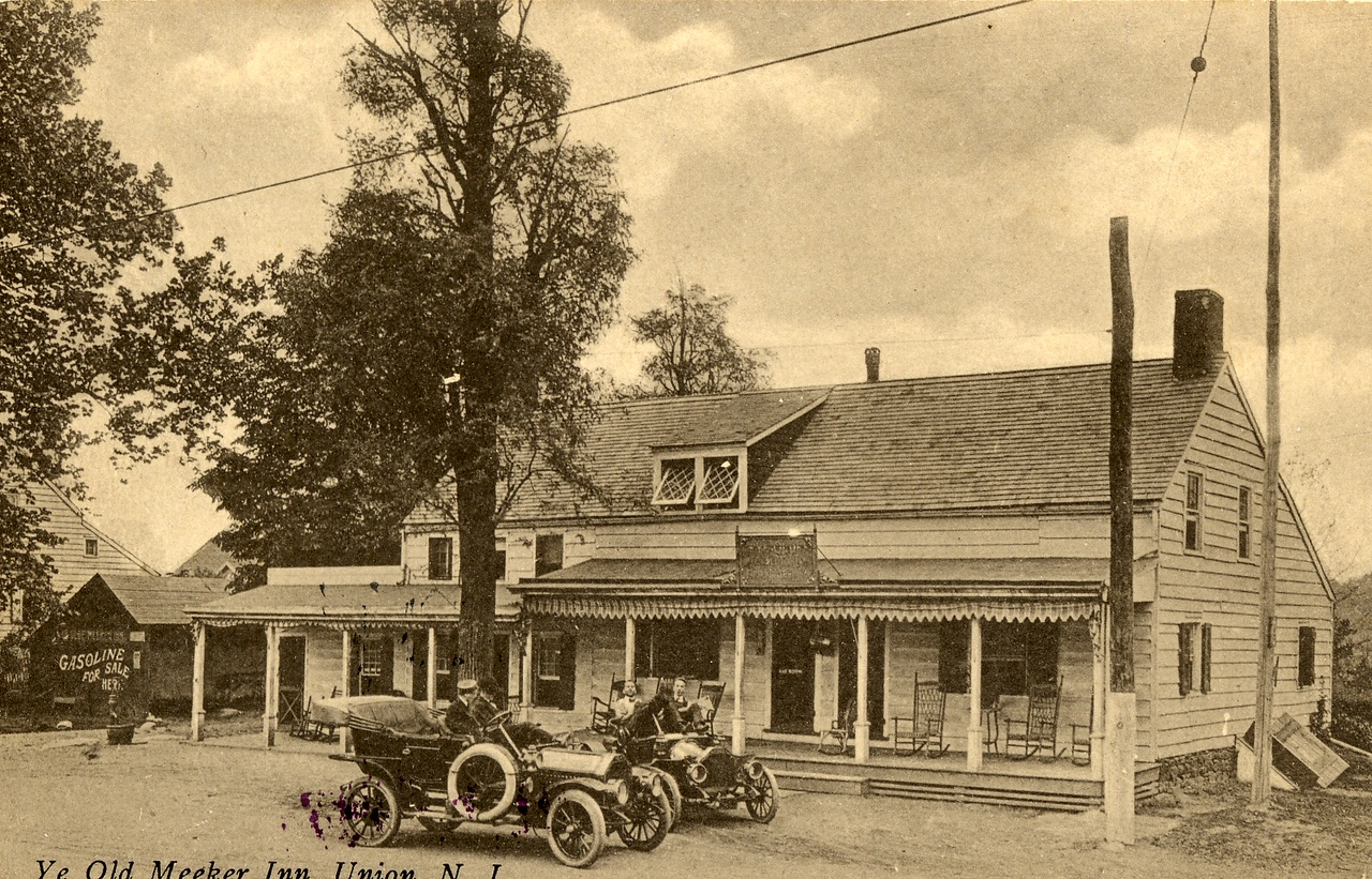 The Meeker Inn shown here about 1910 stood at the North West corner of Morris Ave and Stuyvesant Ave. Established by John Meeker about 1756. It was noted for its fine ales and visits by George Washington during the American Revolution.  August 20, 1895 - New York Tribune Obituaries: John Meeker, for many years proprietor of Ye Olde Meeker Inn, one of the most noted hotels in Union County, NJ died yesterday at the Elizabeth Hospital, sixty three years old. He was born at the inn, which his father, grandfather and great grandfather kept before him. The place has been kept by the Meekers nearly one hundred and fifty years. John was the last male member of the family and leaves two daughters.   The inn was referred to as O'Reilly's in the early 1900's. O'Reilly's was used to symbolize the temptation of Arthur Lang, an alcoholic rehabilitating at the Self Master Colony down the street as noted in a pamphlet published by the colony.   It was torn down in November 1929 to make room for the Union Center National Bank which stands there today.