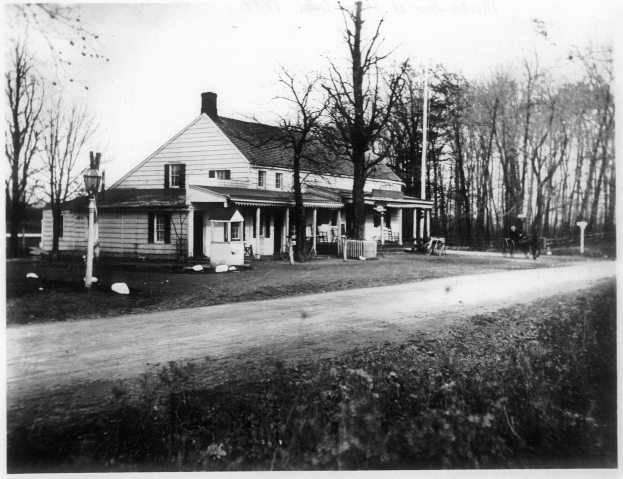 The Meeker Inn around 1890. Established by John Meeker about 1756. It was noted for its fine ales and visits by George Washington during the American Revolution. It was torn down in November 1929 to make room for the Union Center National Bank. The inn was referred to as O'Reilly's in the early 1900's. O'Reilly's was used to symbolize the temptation of Arthur Lang, an alcoholic rehabilitating at the Self Master Colony down the street as noted in a pamphlet published by the colony.