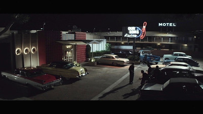 """The Four Seasons as portrayed by the movie set in """"Jersey Boys"""". In the film, as the repairman fixes the sign one of the boys has a revelation to call the band the """"Four Seasons"""" and history was made."""