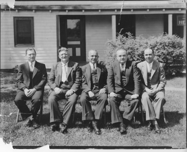 Township Comittee about 1935. left to right- Nelson Kieb, William Nothnagel, Mayor Charles Schramm, F. Edward Biertuempfel, Benjamin Romano. Photo taken in front of Police Station on Caldwell ave.