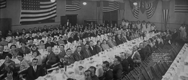 1929 dinner for F. Edward Biertuempfel Association. We would love to identify some of the people in this photo.