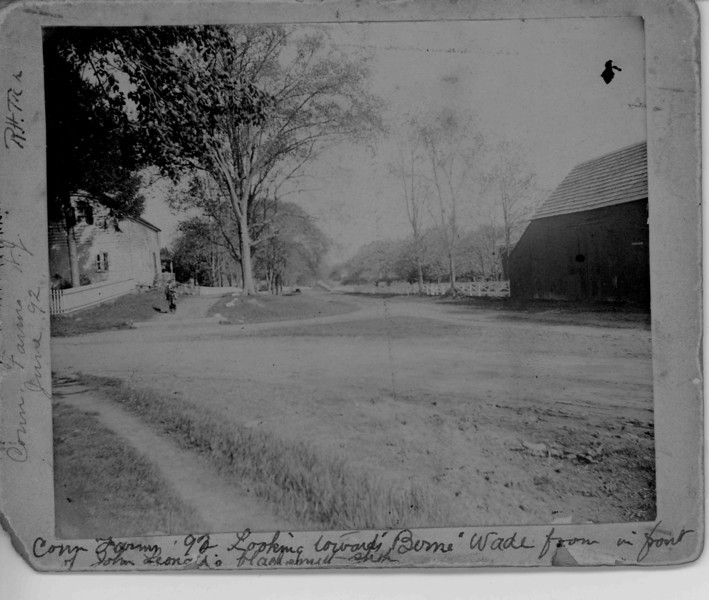 1892 photo looking west on Chestnut St. about where the Route 22 bridge goes through. On the left is a house and the location of John Leonard's Blacksmith shop.