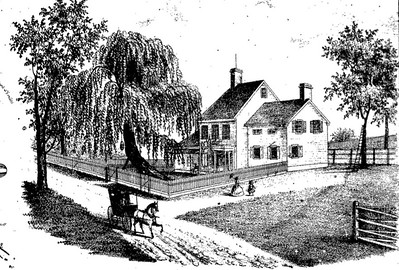Brant Headley House in 1860 which currently exist at Vauxhall Rd. near Oakland Ave. This drawing appeared on an 1860 farm map.