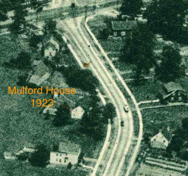 Aerial photo of Union Center in 1923 shows The Mulford Family Home on Stuyvesant Ave. opposite the end of  what will become Rosemont Ave.