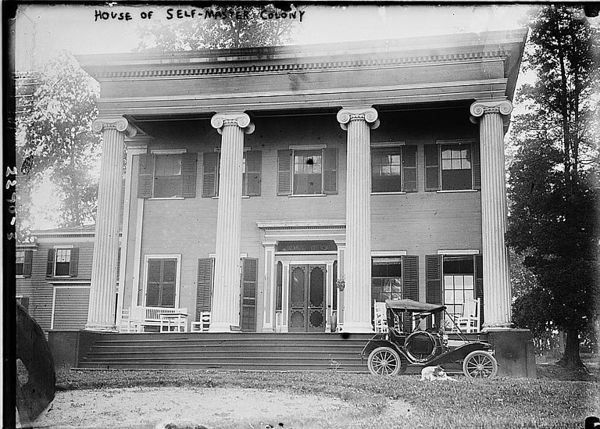 """Originally the """"Hoyt Mansion"""" this house became the main house for Floyd's Self Master Colony. The house was located where Friberger Park is currently and faced east . The newly discovered Sanborn map indicates the locations of the house and other buildings in the complex. Click on the """"Map This"""" button to see this location and others on the map."""