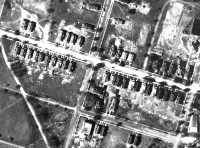 1923 aerial of an early housing development on Newark Ave. at South 23rd St. Most of these homes exist today. This development was called New Orange Park and  built by James Arthur.  The Flats building is shown on the bottom at 23rd and Passaic.